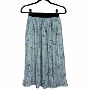 Oak + Fort Pleated Floral Skirt Seafoam Size OS